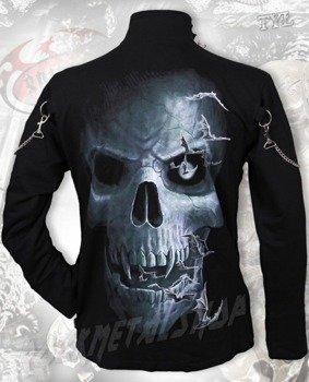 bluza SKULL CAVERN, czarna ze stójką