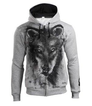 bluza WOLF, rozpinana z kapturem, szara