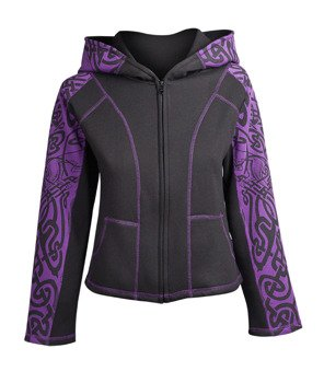 bluza damska HEXAGON - PURPLE TRIBAL rozpinana, z kapturem