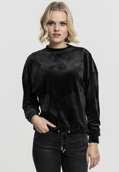 bluza damska LADIES OVERSIZED VELVET CREW black