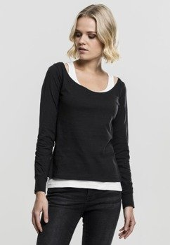 bluzka damska LADIES TWO-COLORED LONGSLEEVE black