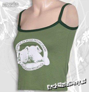 bluzka damska ZWIERZĘTA SĄ MOIMI PRZYJACIÓŁMI na ramiączkach, zielona
