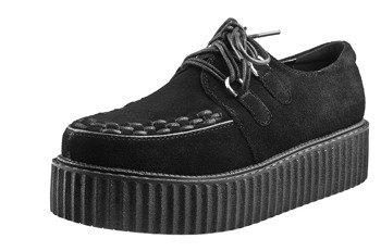 buty damskie creepers SMITHS BLACK, zamszowe