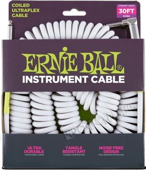 kabel gitarowy spiralny ERNIE BALL 2x jack prosty/kątowy 9,14m BIAŁY
