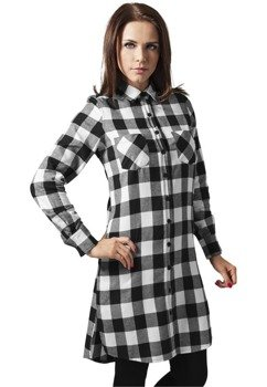 koszula CHECKED FLANELL SHIRT DRESS blk/white