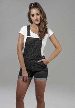 ogrodniczki LADIES SHORT DUNGAREE black washed