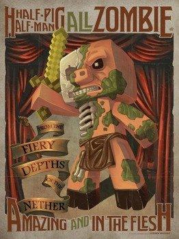 plakat MINECRAFT - HALF PIG HALF MAN