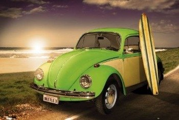 plakat VW CALIFORNIAN - GREEN BEETLE WITH SURF