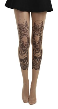 rajstopy SEE, HEAR, SPEAK NO EVIL GOTHIC TATTOO TIGHTS (NUDE)