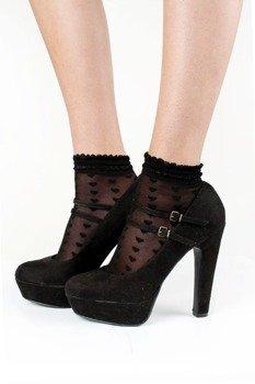 skarpety Sheer Love Heart Ankle Sock - Black + Pink 4-pack