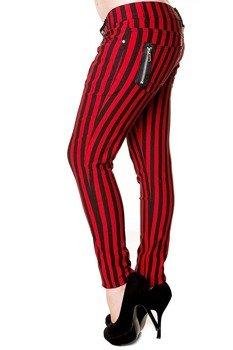 spodnie damskie BANNED - STRIPE SKINNY RED/BLACK