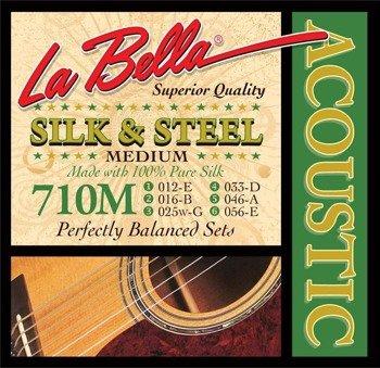 struny do gitary akustycznej LA BELLA: SILK & STEEL 710M Medium /012-056/