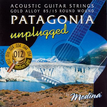 "struny do gitary akustycznej MEDINA PATAGONIA ""unplugged"" - 85/15 GOLD Medium Light /012-054/"