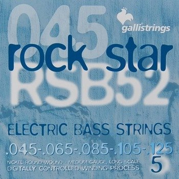 struny do gitary basowej 5str. GALLI STRINGS - ROCK STAR RSB52 NICKEL WOUND /045-125/