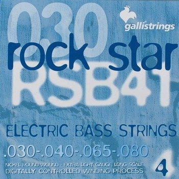 struny do gitary basowej GALLI STRINGS - ROCK STAR RSB41 NICKEL WOUND /030-080/