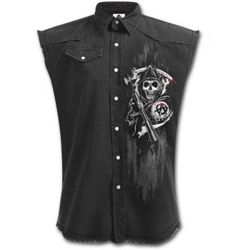 workshirt SONS OF ANARCHY - SOA REAPER SKULLS bez rękawów