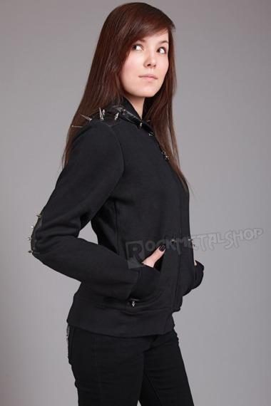 bluza damska BANNED - SPIKES, rozpinana z kapturem