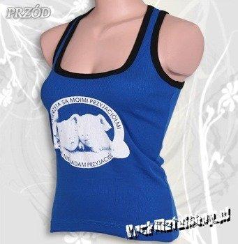 bluzka damska ZWIERZĘTA SĄ MOIMI PRZYJACIÓŁMI (bokserka damska niebieska)