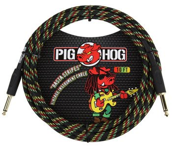 """kabel do gitary PIG HOG """"Rasta Stripes"""" jack prosty, 3m"""