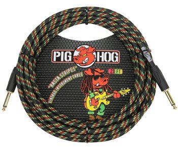 "kabel do gitary PIG HOG ""Rasta Stripes"" jack prosty, 6m"