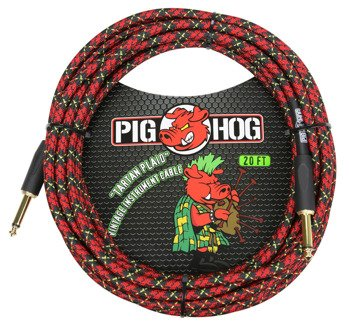 "kabel do gitary PIG HOG ""Tartan Plaid"" jack prosty, 6m"
