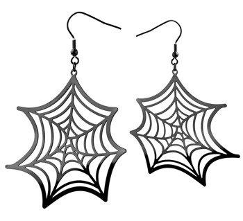 kolczyki SPIDER WEB BLACK, para