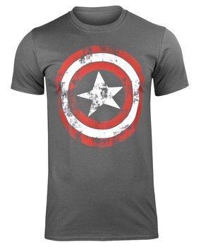 koszulka CAPTAIN AMERICA - DISTRESSED SHIELD ciemnoszara