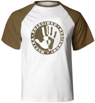 koszulka MUZYKA PRZECIWKO RASIZMOWI (biało-khaki)