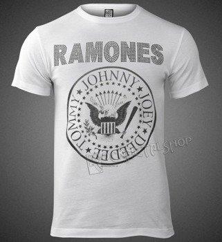 koszulka RAMONES - LOGO WHITE, cyrkonie