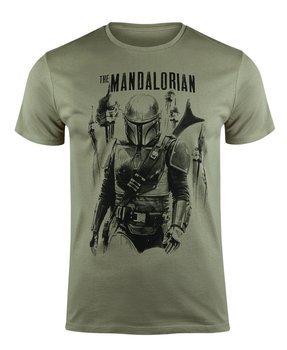 koszulka STAR WARS - THE MANDALORIAN - MANDALORIAN vs STORMTROOPERS khaki