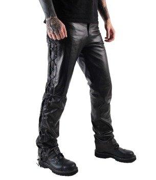 spodnie skórzane OSX - QUT LAW BLACK, wiązane po bokach
