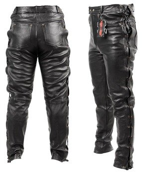 spodnie skórzane RYPARD ANILINA Black, proste wiązane