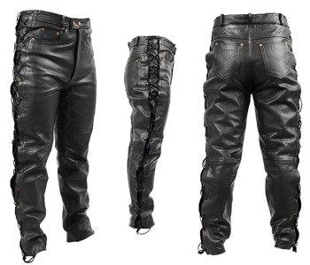 spodnie skórzane RYPARD Black, proste wiązane
