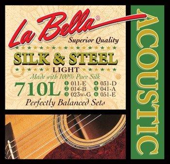 struny do gitary akustycznej LA BELLA: SILK & STEEL 710L Light /011-051/