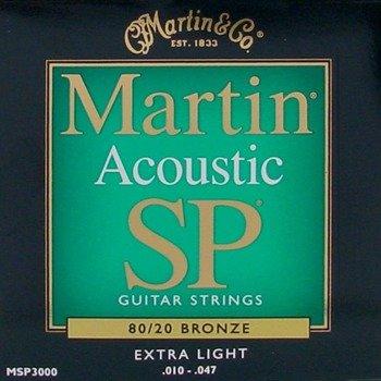 struny do gitary akustycznej MARTIN MSP3000 - 80/20 BRONZE Extra Light /010-047/