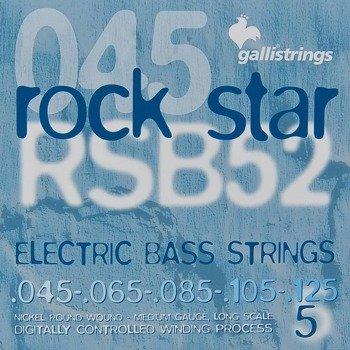 struny do gitary basowej 5str. GALLI STRINGS - ROCK STAR RSB52 NICKEL WOUND /045-125/