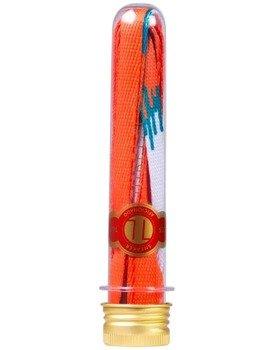 sznurowadła TUBELACES - GOLD FLAT SWEAT AND TEARS ORANGE/WHITE (130 cm)