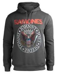 bluza RAMONES - RED SEAL, z kapturem, szara