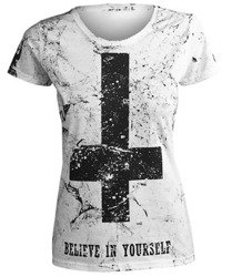 bluzka damska AMENOMEN - BELIEVE IN YOURSELF (OMEN003DA WHITE ALLPRINT BLACK)