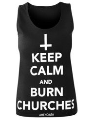 bluzka damska AMENOMEN - KEEP CALM AND BURN CHURCHES na ramiączkach (OMEN069DAR)
