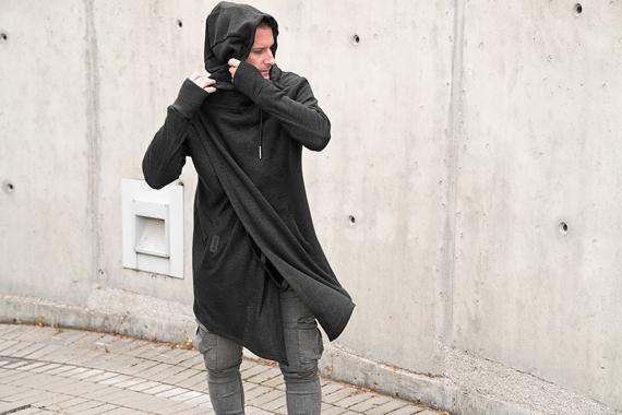 bluza DESIRE - ANGORA ARCTIC czarna, z kapturem UNISEX