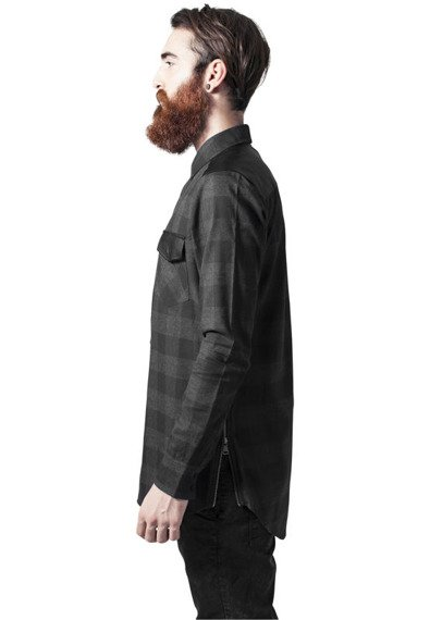 koszula SIDE-ZIP LEATHER SHOULDER FLANELL SHIRT blk/cha