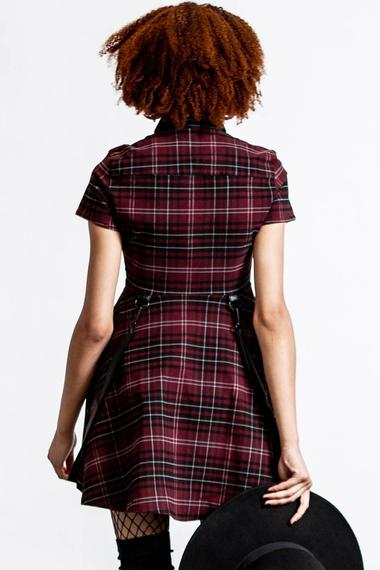 sukienka KILLSTAR - MENACE (BLOOD TARTAN)